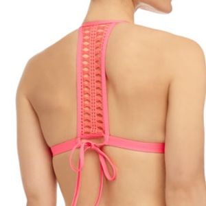 Ella Moss Pink Triangle Crochet Halter Bikini Set